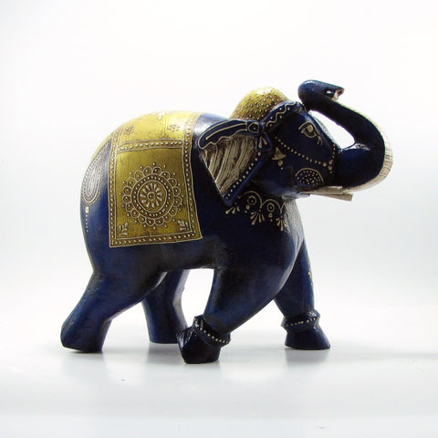 Wood Hand Carved sculpture,Figurine.Elephant Hand Painted.India.Indian art.