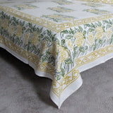 Bed linen mustard green floral white background,soft cotton flat sheet.