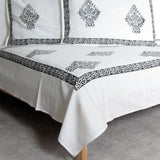 Bed sheet Cotton hand block printed, 220 x 270 cms with two pillow covers.Double/Queen size.
