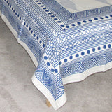 Blue white Cotton hand block printed flat sheet, bed sheet,220 x 270 cms with two pillow covers.