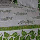 Flat sheet green white floral hand block printed, 220 x 270 cms with two pillow covers