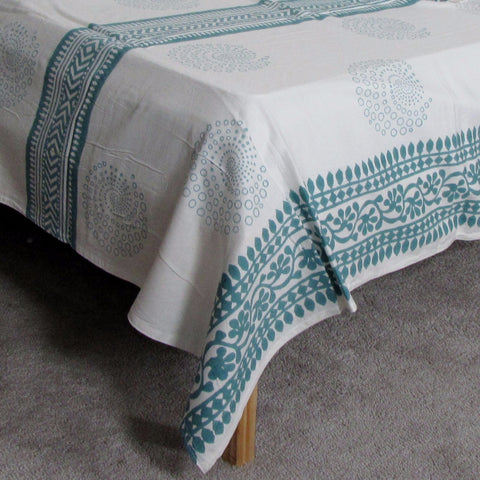 Teal white  bed linen ,Cotton Indian hand block printed,flat sheet 220 x 270 cms with two sham covers