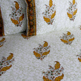 Block print bedding Indian cotton, 220 x 270 cms with two pillow covers