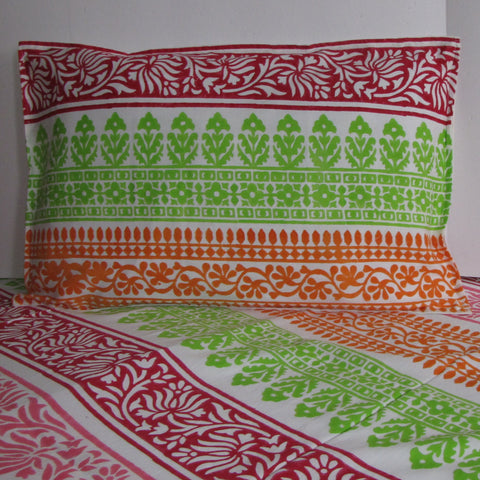 Bed linen cotton,hand block printed,multicolor floral print,Orange green pink red white colors,multicolor.