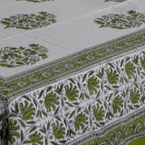 Bed sheet set green white soft Cotton hand block printed,220 x 270 cms with two pillow covers.