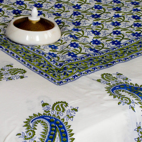 Bed linen green blue white ,Indian paisley print, soft cotton hand block printed.