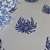 Bed sheet blue white floral Indian hand block printed, 220 x 270 cms with two pillow covers.