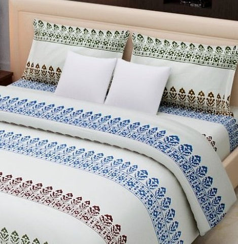 India bed linen,Cotton hand block printed, 220 x 270 cms with two pillow covers.