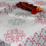 Cotton hand block print Indian bed linen, 220 x 270 cms with two pillow covers.