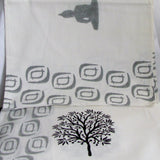 Buddha print monochrome bed spread Cotton hand block printed,black and white bedsheet,flatsheet