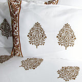 Bedsheet set mustard white soft cotton,Indian print hand block printed.