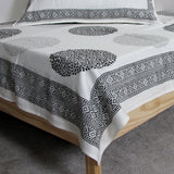 Bedsheet monochrome soft Cotton hand block printed, black and white.