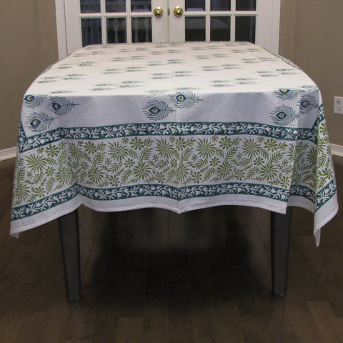 Table linen teal, green, white set,Table cloth,runner,mats,napkins.Cotton hand block printed.