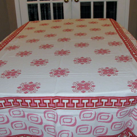 Table linen set pink,cotton block printed,Table cloth,runner,mats,napkins.