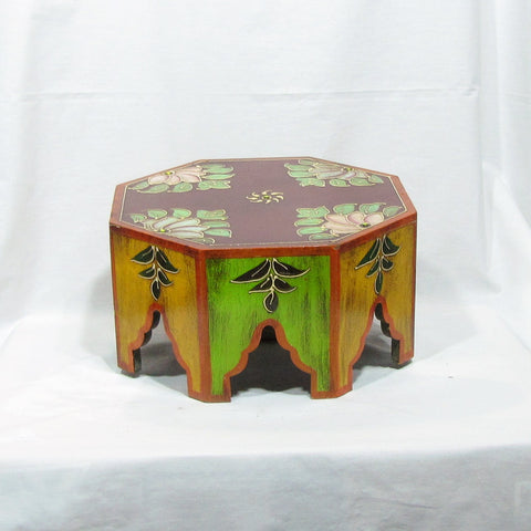 Painted low stool,pot holder,Indian home decor,Painted Indian furniture.