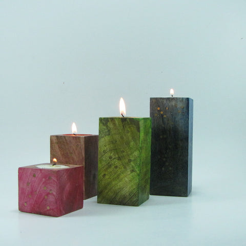 Tea light holder multicolor Wood  Set of 4.