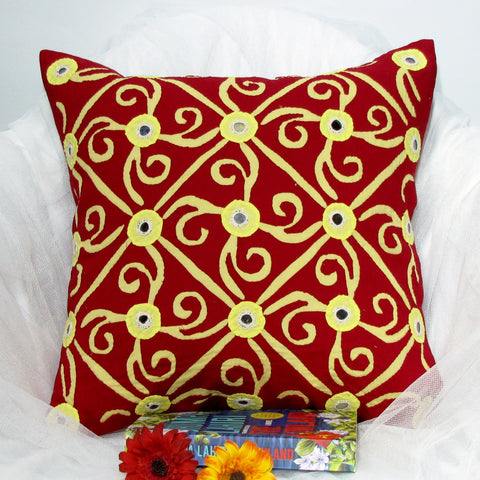 Red Cushion Pillow Covers,Mirror work,Indian ethnic home decor,applique .16 x 16 inches.