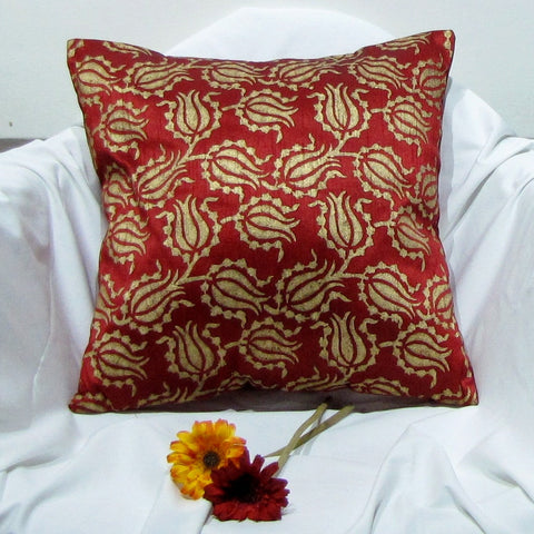 Red gold Silk Cushion Pillow Cover .16 x 16 inches.Block Print.