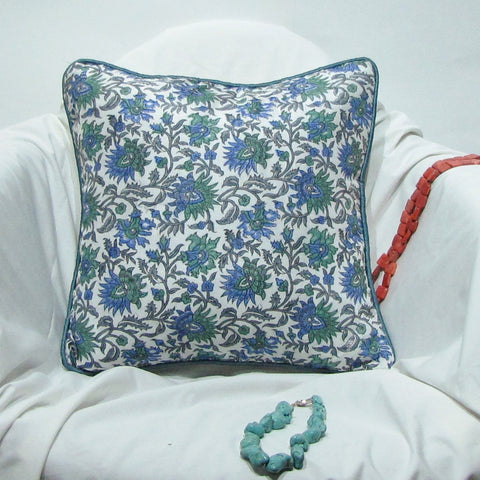 Blue green floral silk Silk Cushion Pillow Cover .16 x 16 inches.Block Print.