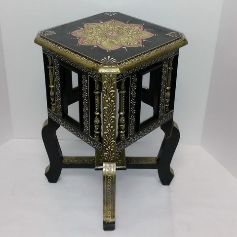 Painted stool,pot holders,plant stand,Indian home decor.black gold .Indian painted furniture