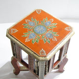 Painted stool,pot holders,plant stand,Indian home decor orange off white .Indian painted furniture