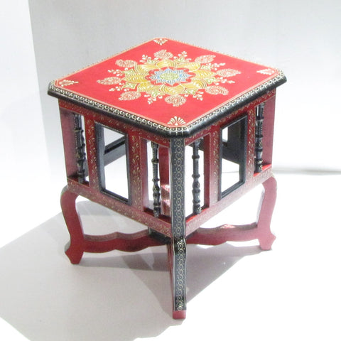 Painted stool,pot holders,plant stand,Indian home decor.Red black accents,.Indian painted furniture