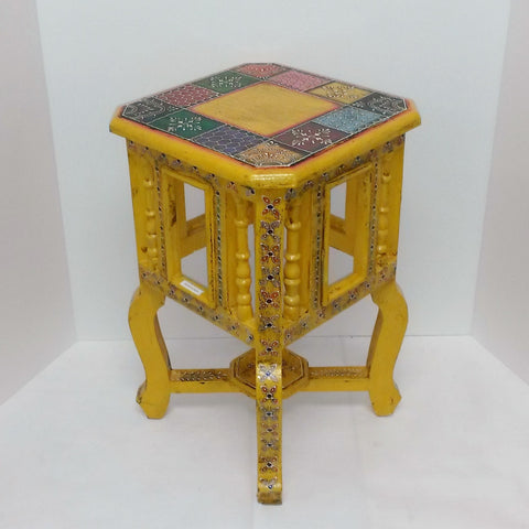 Painted stool,pot holders,plant stand,Indian home decor yellow .Indian painted furniture