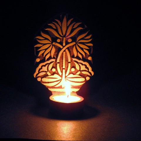 Textile block Tealight Candle holder,Wood Printing block carved,Table or Wall mounting,sconce.Lotus
