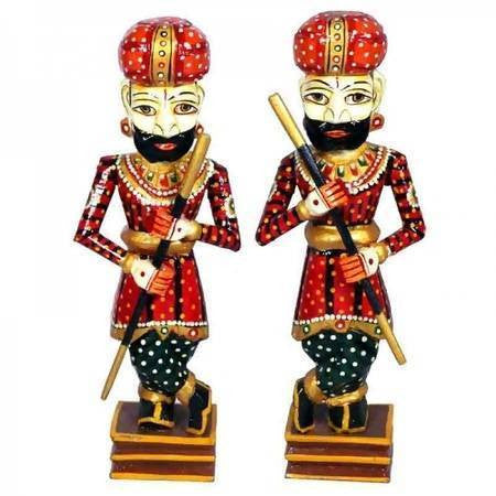 Wood Hand Carved sculpture,Figurine,Rajasthani Watchmen,Hand painted.