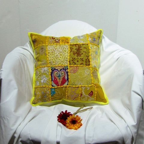 Indian Cushion Cover Patchwork Yellow,mustard,multicolor,Ethnic design.Embroidered,16 x 16 inches.