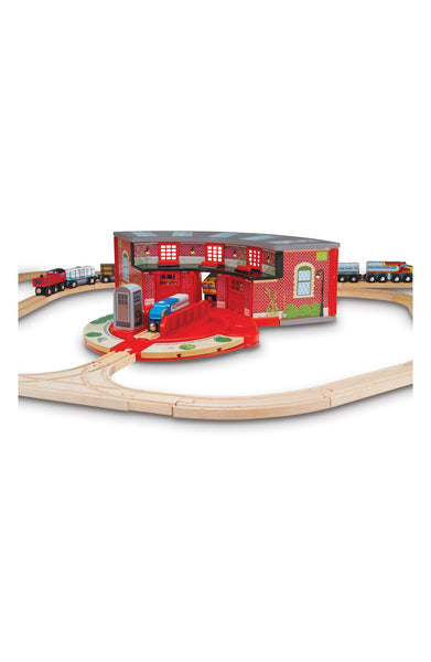 'Roundhouse & Turntable' Wooden Toy Set