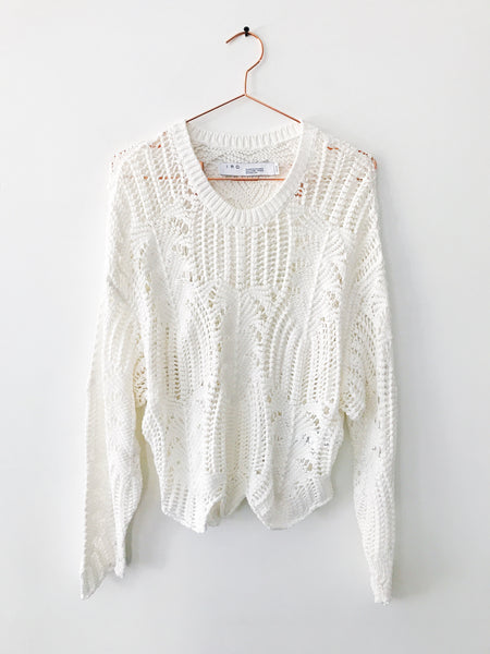 IRO - Rhapsody Loose Knit Crew Neck Sweater, White - Therapy & EG Page