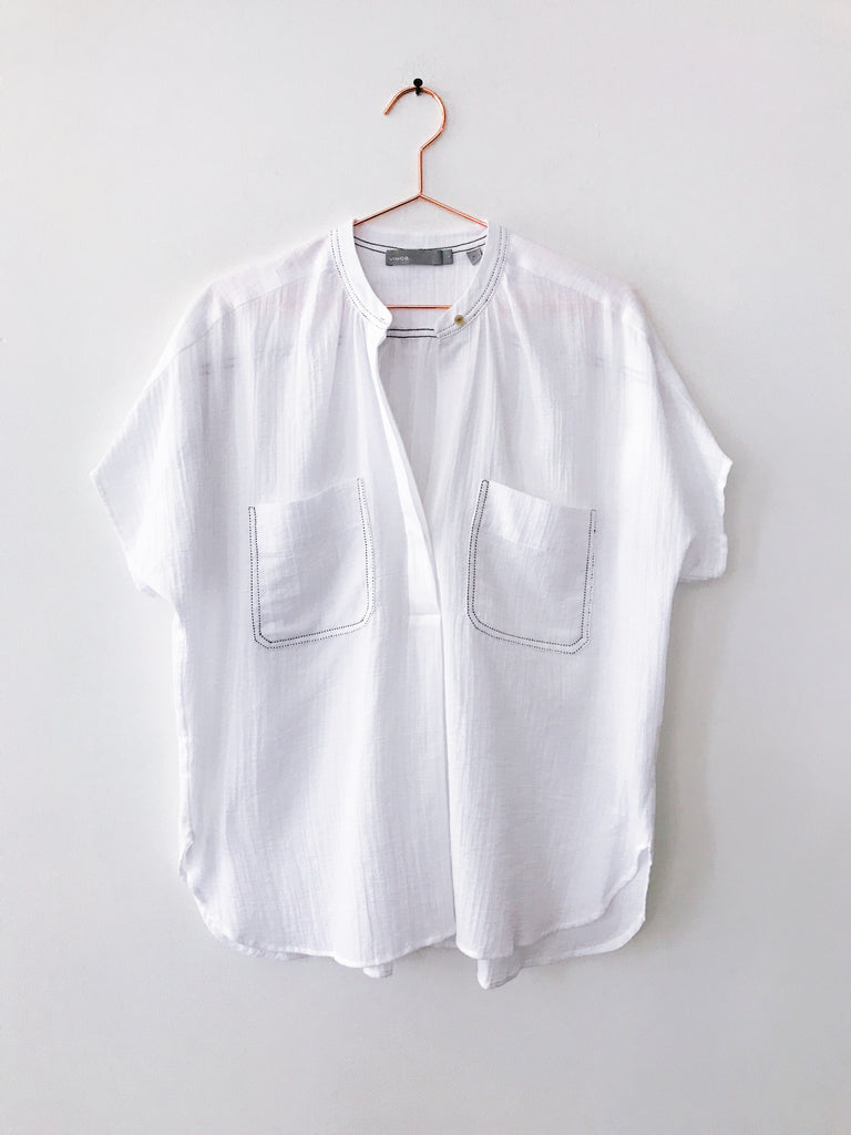 Vince - Double Pocket Popover, White w/Navy Stitching - Therapy & EG Page