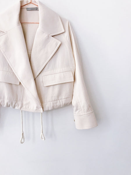 Vince - Cropped Lapel Jacket, Horchata - Therapy & EG Page