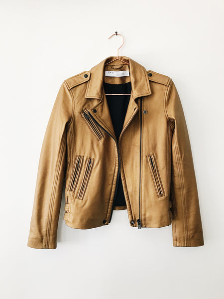 IRO - Han Leather Jacket, Gold - Therapy & EG Page