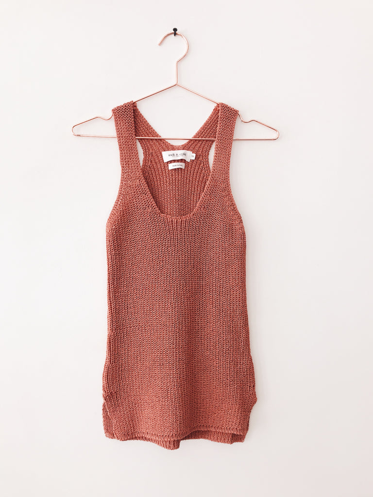 Indi & Cold - Knit Racer Back Tank Blouse, Rust - Therapy & EG Page