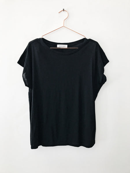 Emerson Grace - Relaxed Fit Short Cap Sleeve Tee, Black - Therapy & EG Page