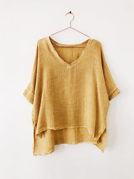 Laissez Faire - Daileen 3/4 Sleeve V-neck Top, Mustard - Therapy & EG Page