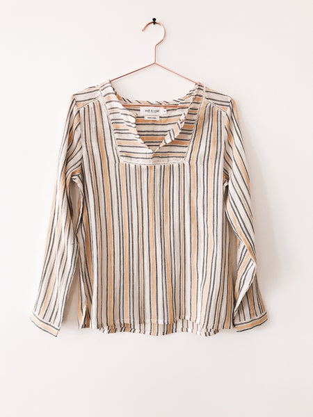 Indi & Cold - Long Sleeve Stripe Split Neck Top - Therapy & EG Page