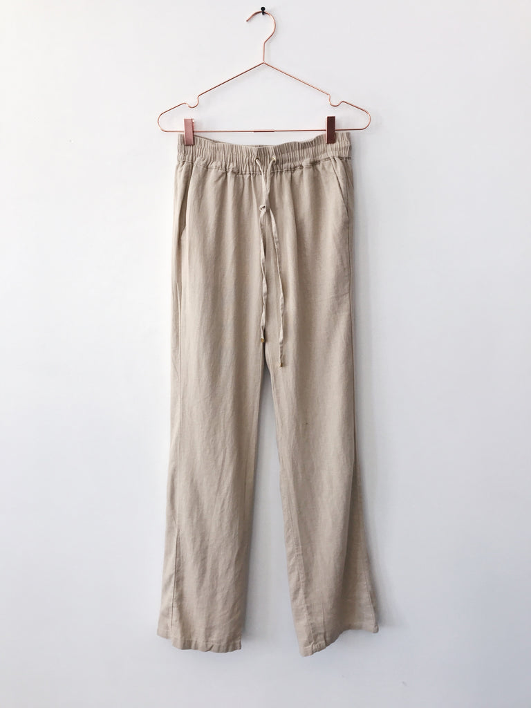 Emerson Grace - Linen Drawstring Linen Pant, Taupe - Therapy & EG Page