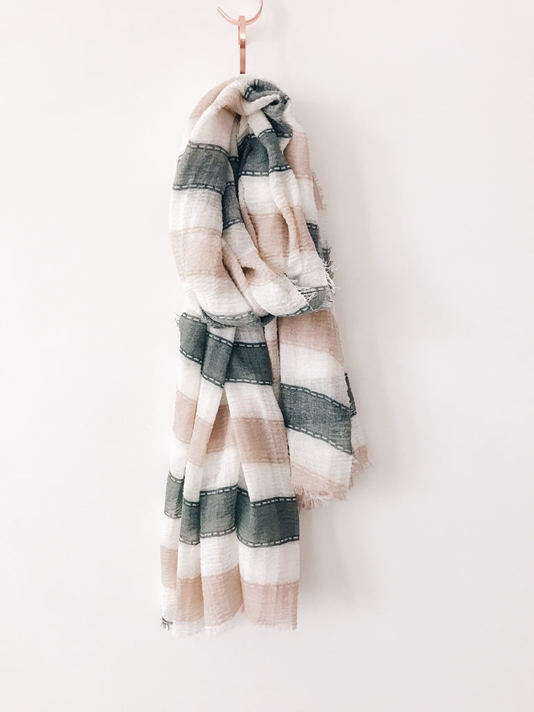 Emerson Grace - Linen Stripe Scarf, Army/Taupe - Therapy & EG Page