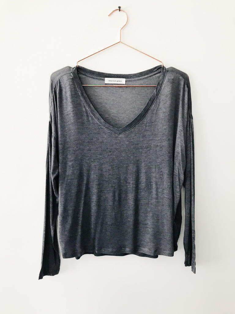 Emerson Grace - Long Sleeve V-neck Tee, Steel - Therapy & EG Page