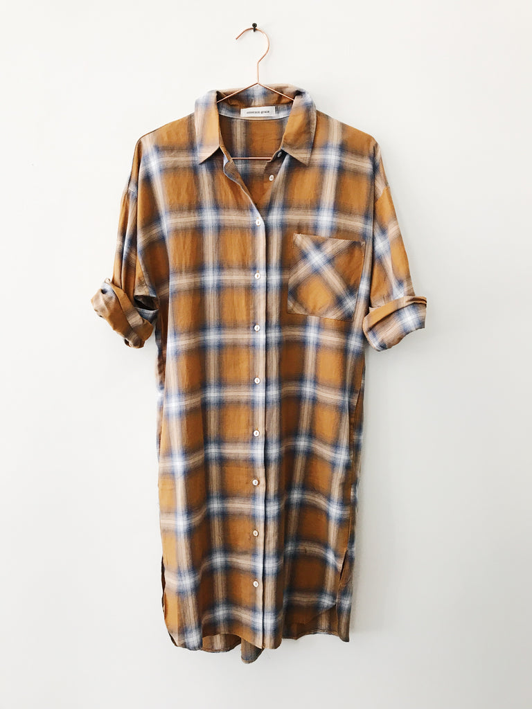 Emerson Grace - Plaid Button Down Dress, Mustard - Therapy & EG Page