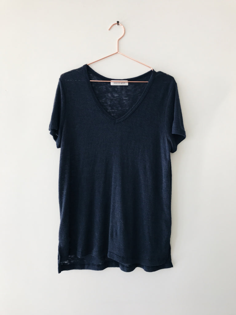 Emerson Grace - Short Sleeve V-neck, Navy - Therapy & EG Page