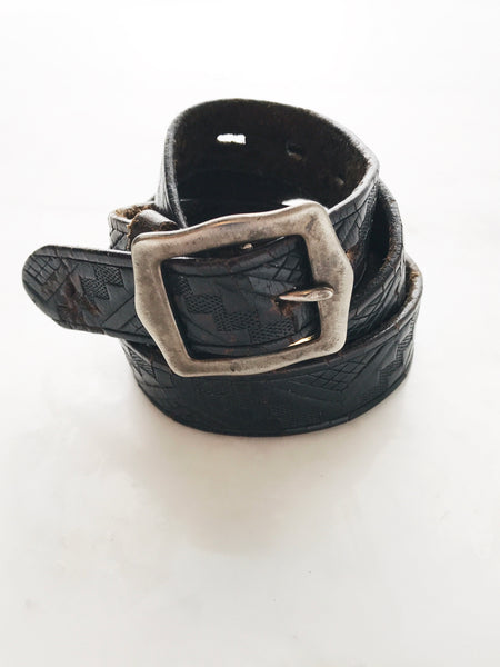 Old Stud - Vintage Leather Belt, 34 Embossed Black - Therapy & EG Page