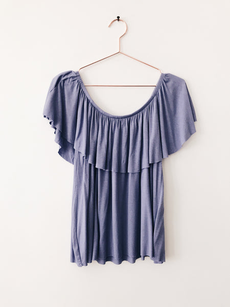 Emerson Grace - Off Shoulder Top with Ruffle, Blue - Therapy & EG Page
