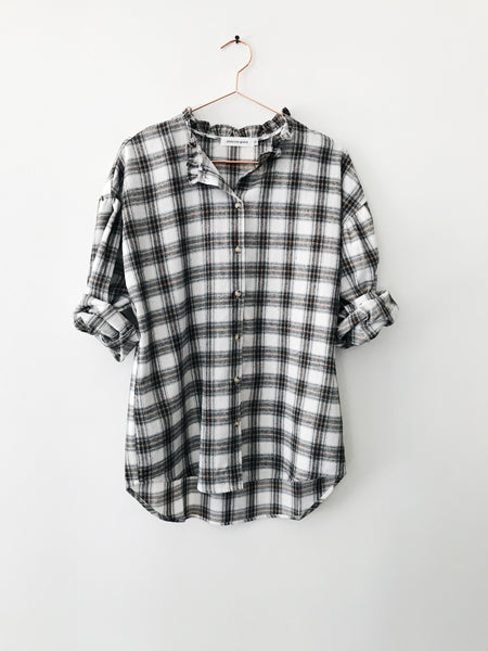 Emerson Grace - Boxy Plaid Long Sleeve Blouse - Therapy & EG Page