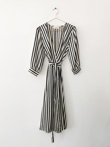 Laissez Faire - Juliette Stripe Satin Wrap Dress - Therapy & EG Page