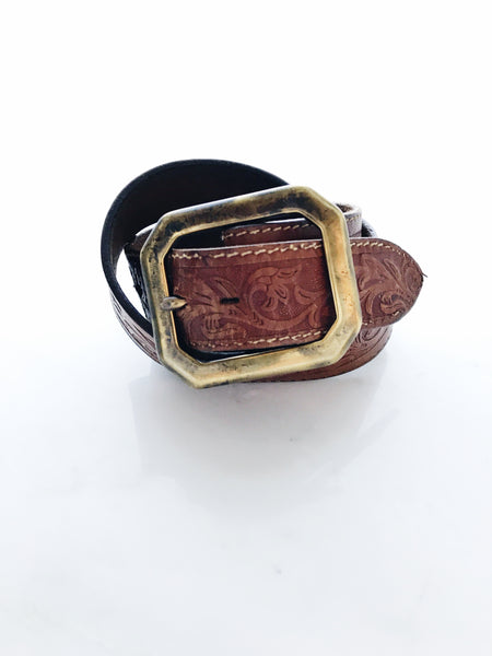 Old Stud - Vintage Leather Belt, 34 Embossed Caramel - Therapy & EG Page