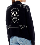 360 sweater-ariela open cardi w/ skull - Therapy & EG Page